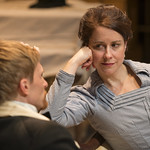 Scott Parkinson (Judge Brack) and Kate Fry (Hedda) in HEDDA GABLER at Writers Theatre.  Photo by Michael Brosilow.