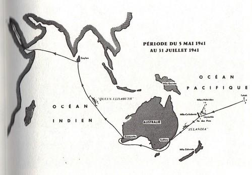 BP - 1941- Carte du voyage sur le Zelandia et le Queen Elisabeth-  5 mai -31 juillet 41 - Mémoires de Roger Ludeau