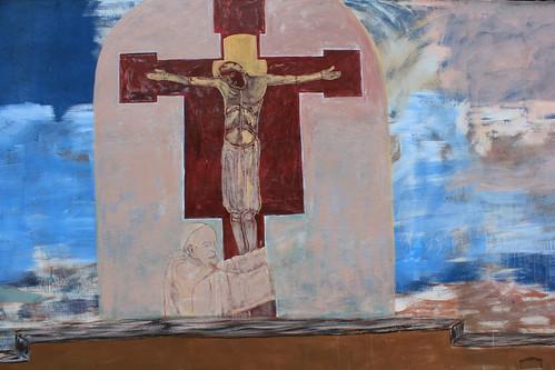 mural of Jesus on the cross