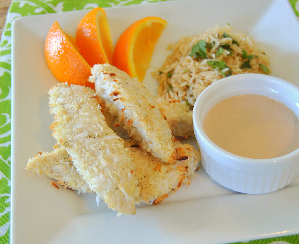 Coconut Chicken Strips with Basmati Rice