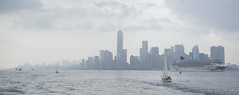 Panorama of New York City from New York Harbor on a Rainy Day photo by Adrian Cabrero (Mustagrapho)