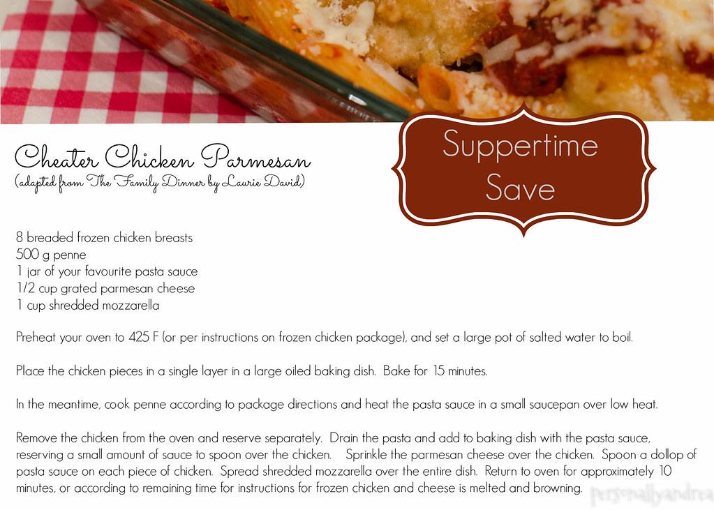 Cheater Chicken Parmesan Recipe Card | personallyandrea.com