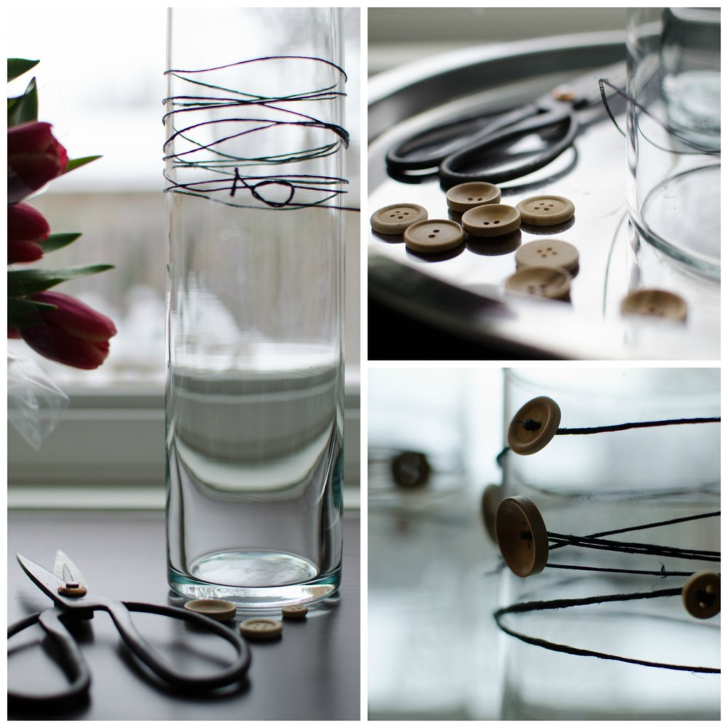 Wrapped Vases | Hemp Cord and Button | personallyandrea.com