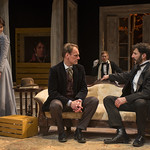 Kate Fry (Hedda), Mark L. Montgomery (Eilert Lovborg), Scott Parkingson (Judge Brack) and Sean Fortunato (Jorgen Tesman) in HEDDA GABLER at Writers Theatre.  Photo by Michael Brosilow.