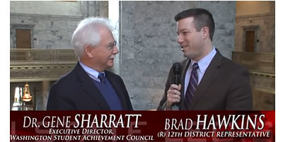 Rep. Brad Hawkins interviews Dr. Gene Sharratt