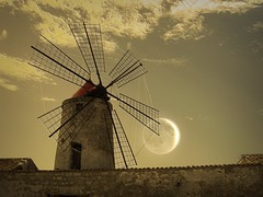 Windmill with moon photo by Uscè (OFF/OFF)