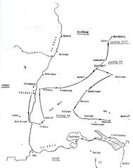 Alsace-  1945 - Carte de la captivité 12 janvier-8mar 45 des prisonniers du BM 24 - Source  Carnet de route d'André Sébart BM 24
