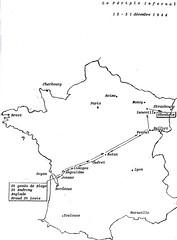 Carte traversée ouest est- 12-31 dec 1944-Source  Carnet de route d'André Sébart BM 24