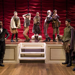 Allen Gilmore, Dane Halvorson, Joey Steakley, Jeff Trainor, Gregory Isaac, Brandon Ford, Sean Fortunato, and Timothy Edward Kane in ROSENCRANTZ AND GUILDENSTERN  ARE DEAD at Writers Theatre.. Photos by Michael Brosilow.