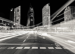 light trails in bw photo by Vivien J-Dora