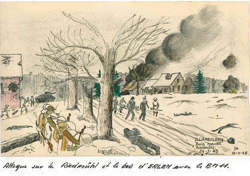 1945- ALsace - Attaque sur le Riedmuhl et le bois d'Erlen avec le BM XI - Fonds François Engelbach