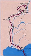 1944-1945- France Cartographie  du parcours de la Division Française Libre