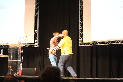 Thibault Imbert hugging the audience member