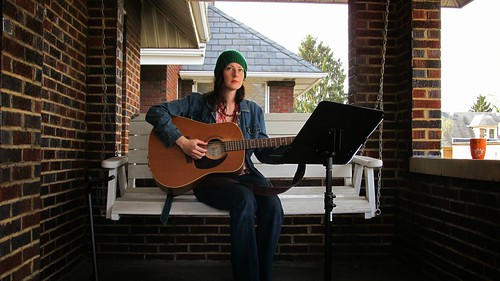 Mary singing on the porch in Butler, PA