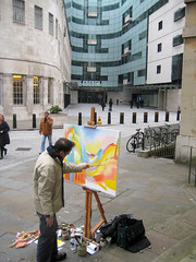 Stephen B Whatley Painting The BBC. 2013 photo by Stephen B Whatley