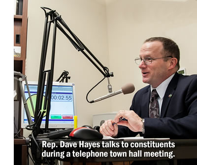 Rep. Dave Hayes during telephone town hall meeting
