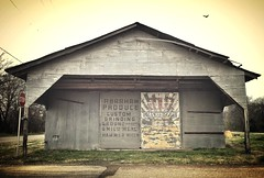 Ghost signs on a cold, rainy day in rural Texas -- including one of two Wayne Feeds ads painted on vacant shed photo by mollyblock