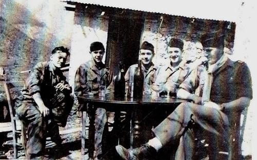 1945- Alpes - Section antichars du BM 4 dans les Alpes Maritimes Breil, Saorge et Fontan (Henri Beauge à droite)  -Source  20 ans en 1940 de Henri Beauge
