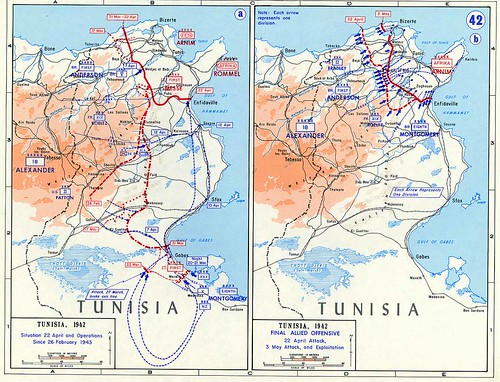 1943 - Tunisie- carte de l'offensive alliée 22 avril -3 mai 1943