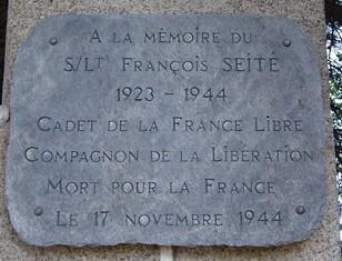 Cadet de la France libre -plaque François Seité tué à Belfort 17 nov 44