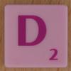 Scrabble pink tile letter D