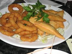 Mezze (a Selection of North African starters 'Sambousek au Fromage,Sambousek a l'Agneau, humus, warak enab mahshee, baba ghannoug, salade egyptienne, labna, salade taboula, calamars.' - £9.50