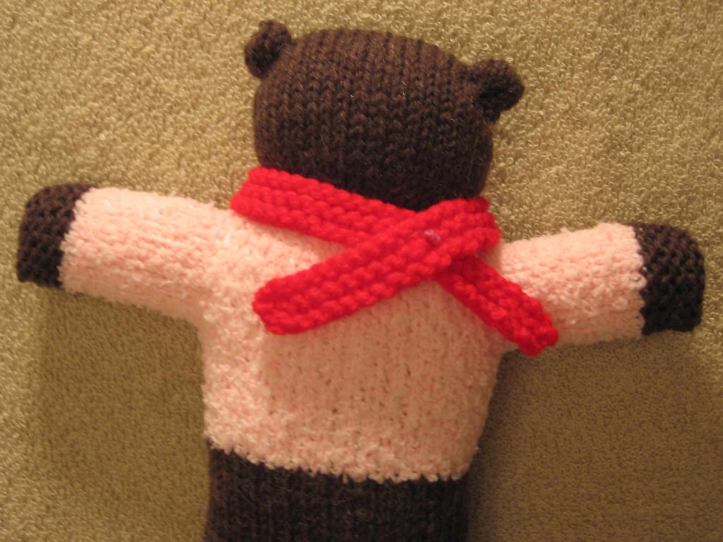 Pink Bear with defined neck and ears plus scarf