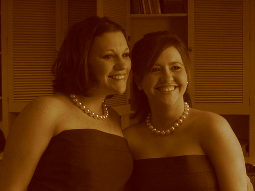 Heather and Sarah, bootiful bridesmaids