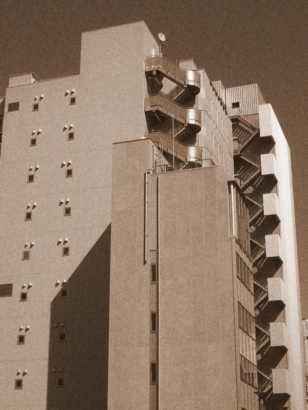Akihabara building in sepia