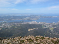 Hobart, Tasmania from Mount Wellington.