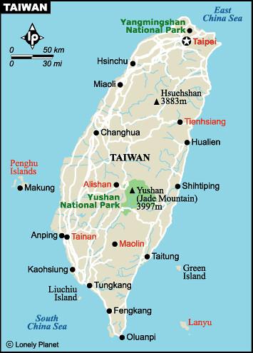 附:台湾地图(由于台湾不采用汉语拼音