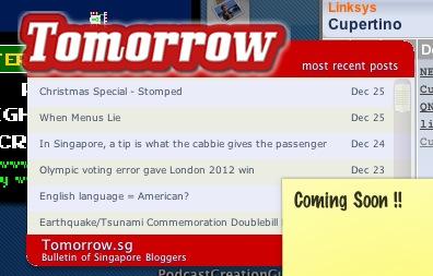 Tomorrow.sg dashboard widget coming...