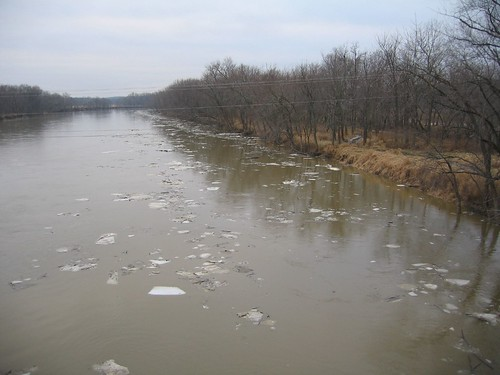 Muddy Wabash River with Ice