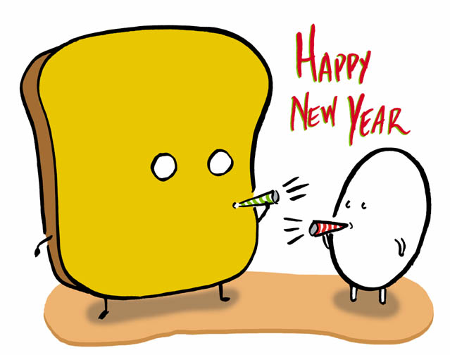 mr toast new year card