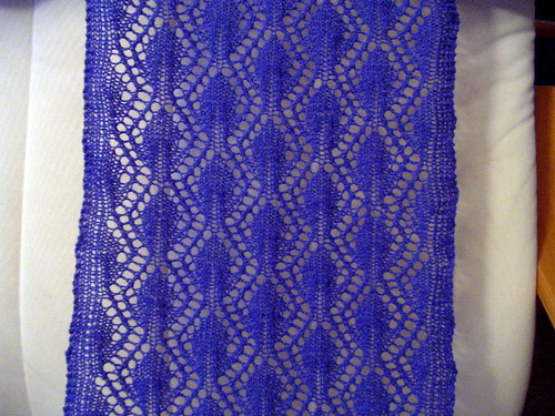 lace scarf - post blocking closeup