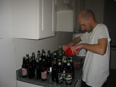capping the beer bottles