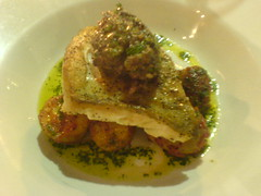 Pan Fried Cod fillet with baby potatoes at First Coast, Edinburgh