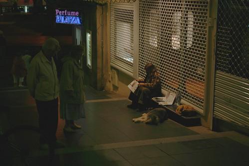 Homeless and elderly people glancing, Puerto de la Cruz