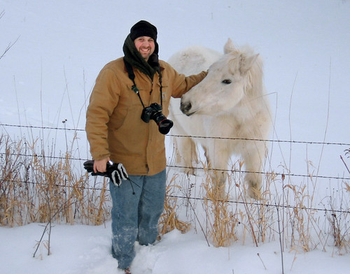 Me and a shaggy horse near Cumberland WI