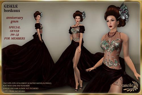 DANIELLE Gisele Bordeaux Anniversary Gown