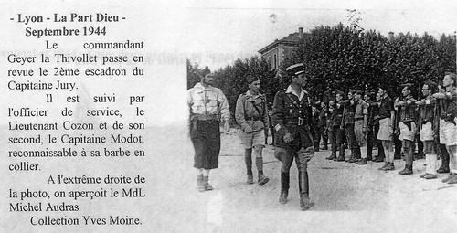 1944 - Lyon - La Part Dieu - 11e Cuirassiers : Geyer La Thivollet