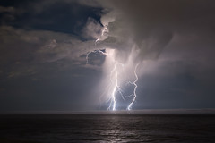Lightning on the Pacific Ocean photo by AGrinberg
