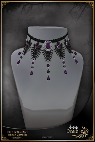 Winter Dark Hunt prize - DANIELLE Gothic Madame Black Choker Amethyst
