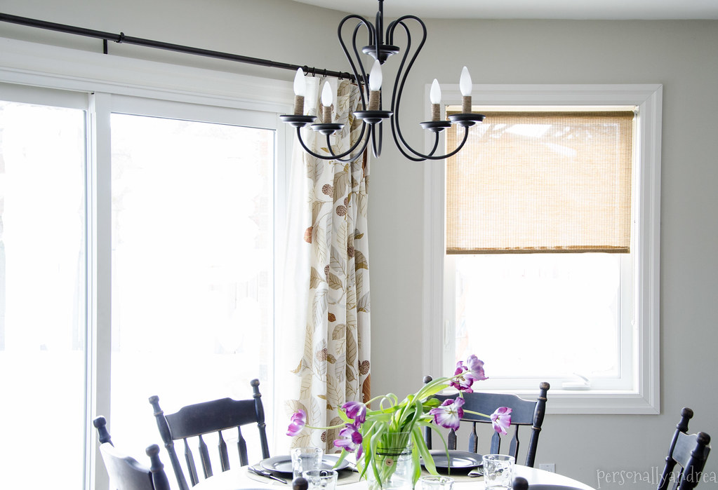 DIY Rope Detail Chandelier | white kitchen with black detail, IKEA curtains | personallyandrea.com