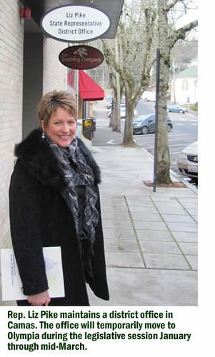 Rep. Pike at her legislative office in Camas