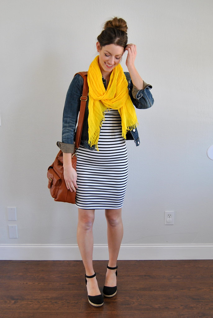 striped dress + denim jacket + yellow scarf