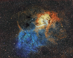 Sh2-132 in Hubble Space Telescope (HST) palette # Explored photo by swag72 (www.swagastro.weebly.com)