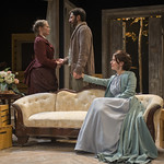 Chaon Cross (Thea Elvsted), Sean Fortunato (Jorgen Tesman) and Kate Fry (Hedda) in HEDDA GABLER at Writers Theatre.  Photo by Michael Brosilow.