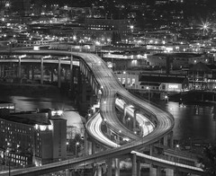 Marquam at Night in Black & White photo by prose729