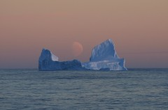 Iceberg Rafting on a Serene Southern Ocean Evening and Pale Moon Rising Antarctic Circle Ross Sea Zone Antarctica (Explored) photo by eriagn